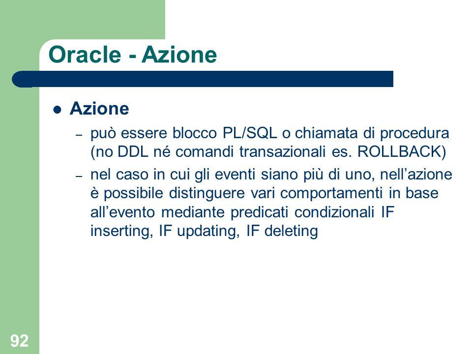 92 Oracle - Azione Azione – può essere blocco PL/SQL o chiamata di procedura (no DDL né comandi transazionali es.