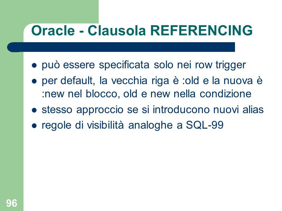 96 Oracle - Clausola REFERENCING può essere specificata solo nei row trigger per default, la vecchia riga è :old e la nuova è :new nel blocco, old e new nella condizione stesso approccio se si introducono nuovi alias regole di visibilità analoghe a SQL-99
