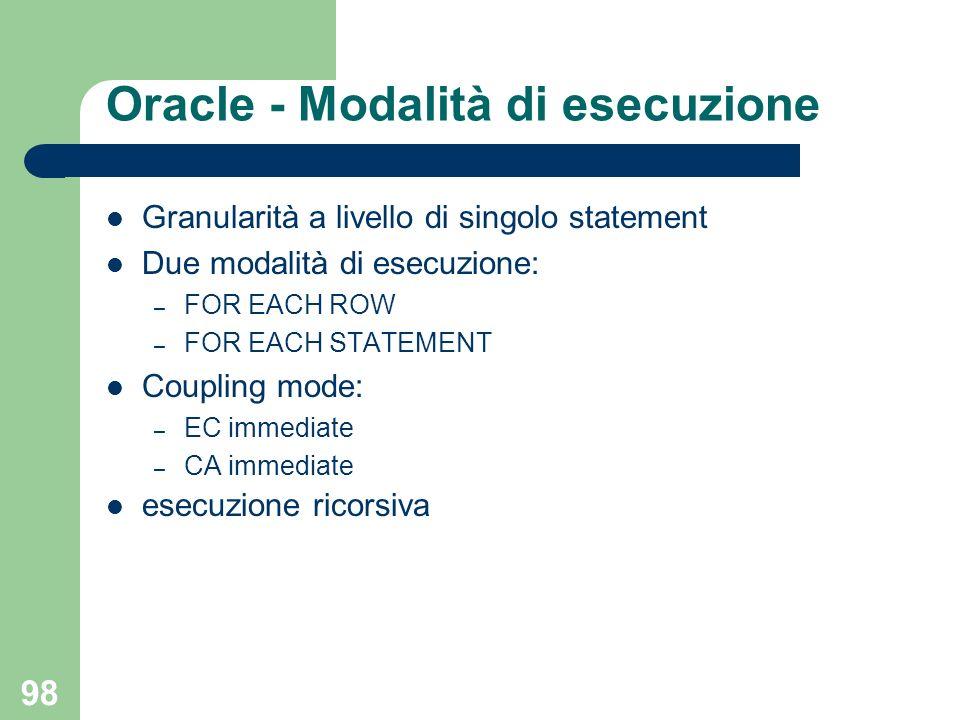 98 Oracle - Modalità di esecuzione Granularità a livello di singolo statement Due modalità di esecuzione: – FOR EACH ROW – FOR EACH STATEMENT Coupling mode: – EC immediate – CA immediate esecuzione ricorsiva