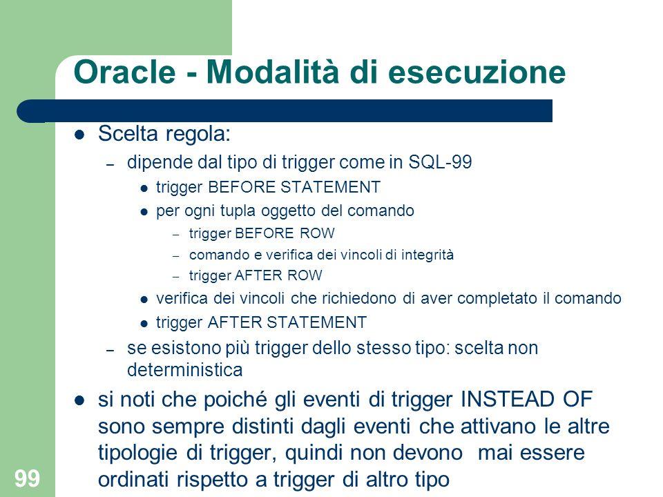 99 Oracle - Modalità di esecuzione Scelta regola: – dipende dal tipo di trigger come in SQL-99 trigger BEFORE STATEMENT per ogni tupla oggetto del comando – trigger BEFORE ROW – comando e verifica dei vincoli di integrità – trigger AFTER ROW verifica dei vincoli che richiedono di aver completato il comando trigger AFTER STATEMENT – se esistono più trigger dello stesso tipo: scelta non deterministica si noti che poiché gli eventi di trigger INSTEAD OF sono sempre distinti dagli eventi che attivano le altre tipologie di trigger, quindi non devono mai essere ordinati rispetto a trigger di altro tipo