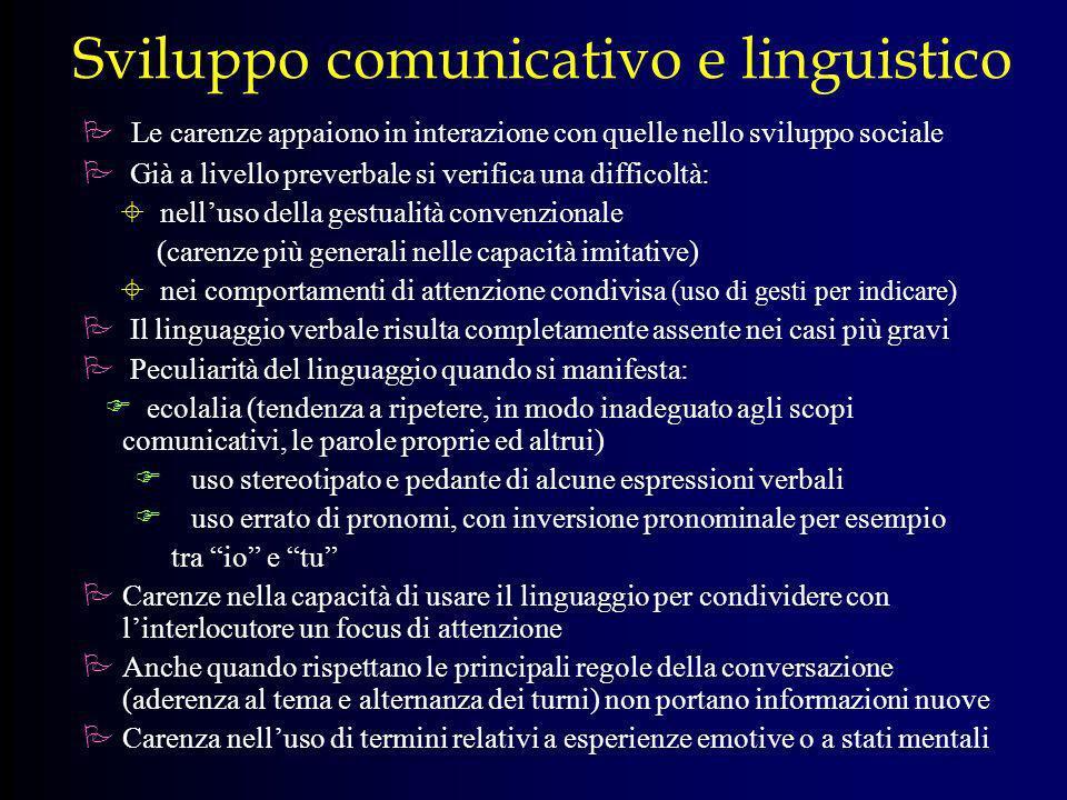 Sviluppo comunicativo e linguistico Le carenze appaiono in interazione con quelle nello sviluppo sociale Già a livello preverbale si verifica una diff