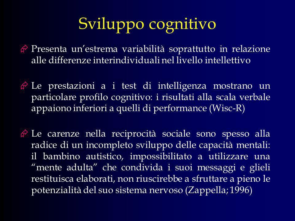 Sviluppo cognitivo Presenta unestrema variabilità soprattutto in relazione alle differenze interindividuali nel livello intellettivo Le prestazioni a