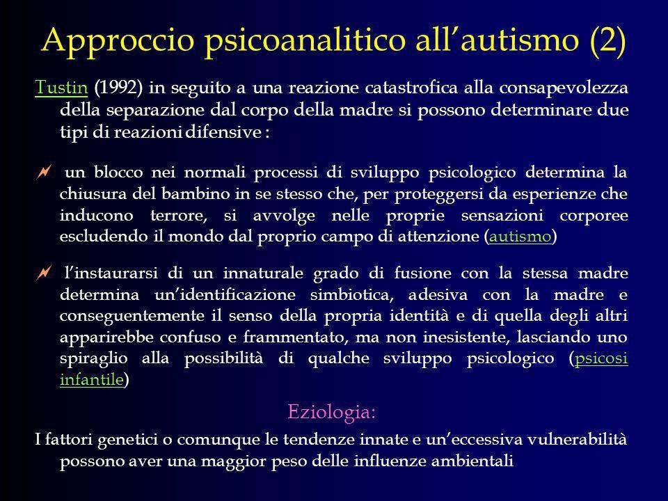 Approccio psicoanalitico allautismo (2) Tustin (1992) in seguito a una reazione catastrofica alla consapevolezza della separazione dal corpo della mad