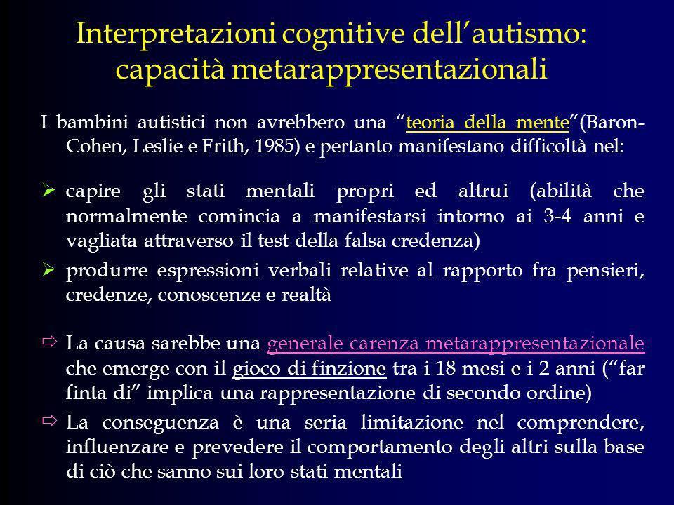 Interpretazioni cognitive dellautismo: capacità metarappresentazionali I bambini autistici non avrebbero una teoria della mente(Baron- Cohen, Leslie e