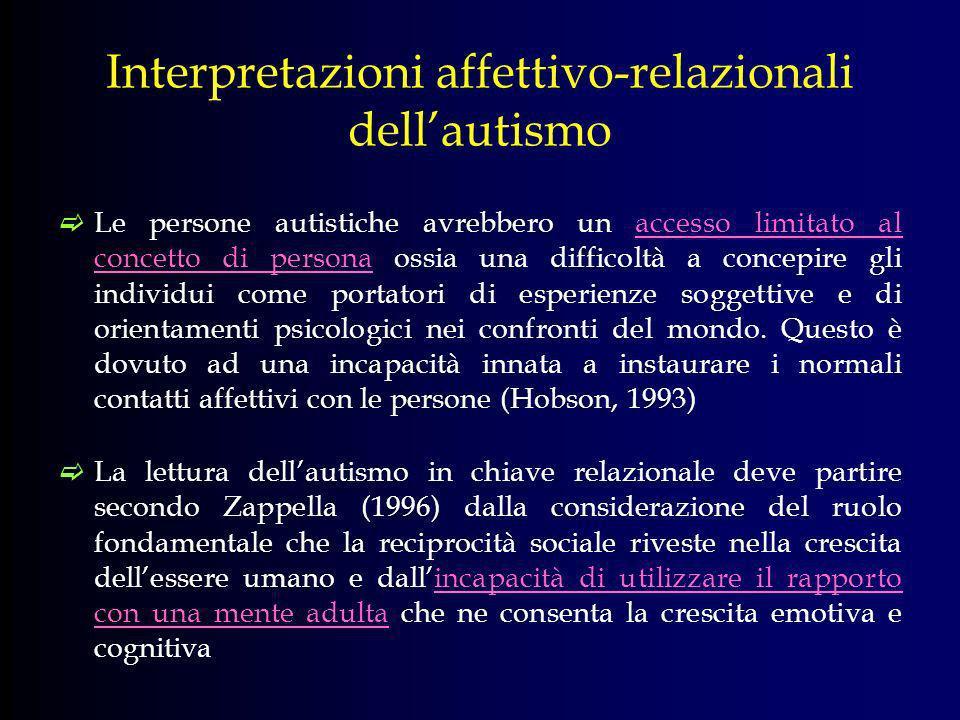 Interpretazioni affettivo-relazionali dellautismo Le persone autistiche avrebbero un accesso limitato al concetto di persona ossia una difficoltà a co