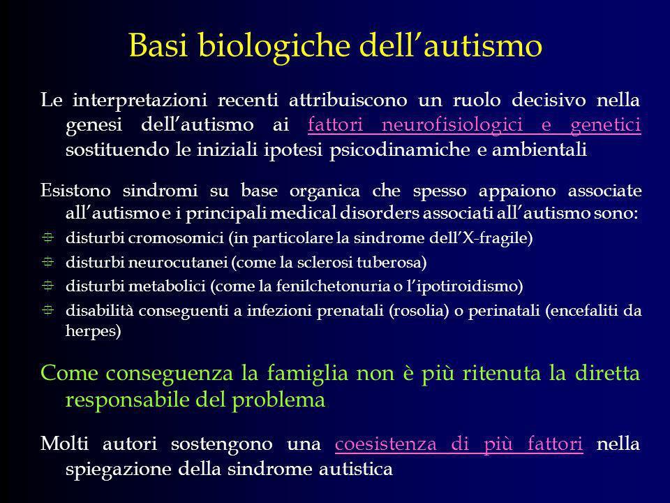 Basi biologiche dellautismo Le interpretazioni recenti attribuiscono un ruolo decisivo nella genesi dellautismo ai fattori neurofisiologici e genetici