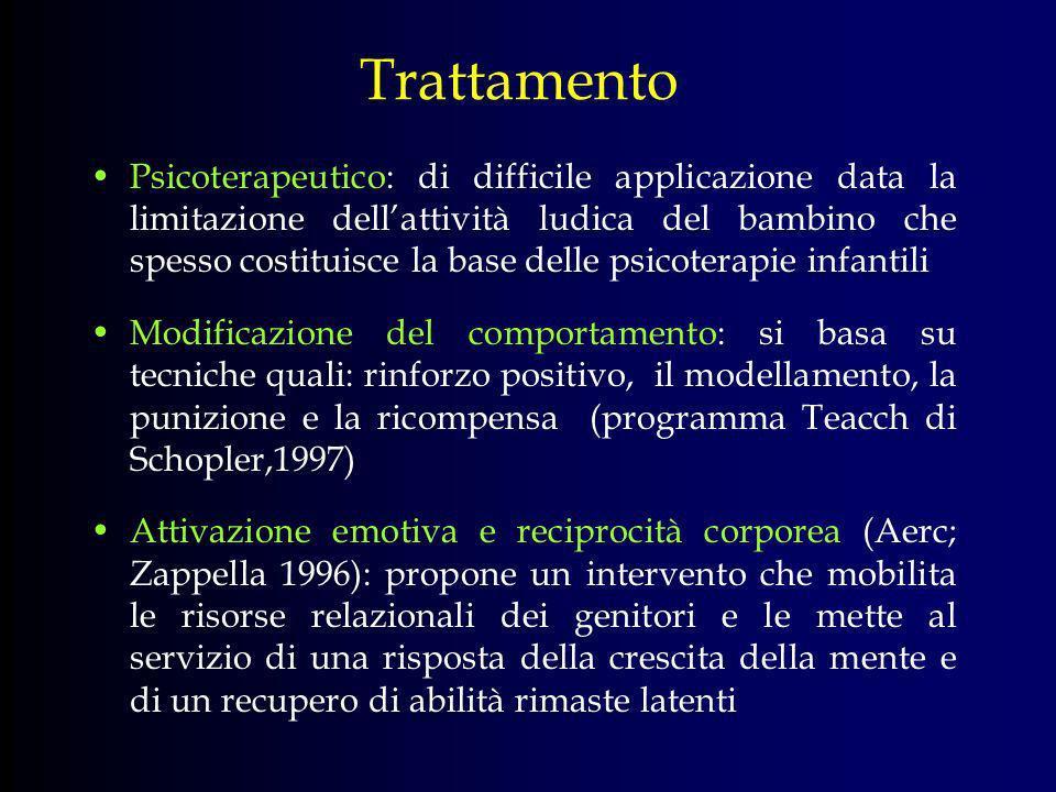 Trattamento Psicoterapeutico: di difficile applicazione data la limitazione dellattività ludica del bambino che spesso costituisce la base delle psico