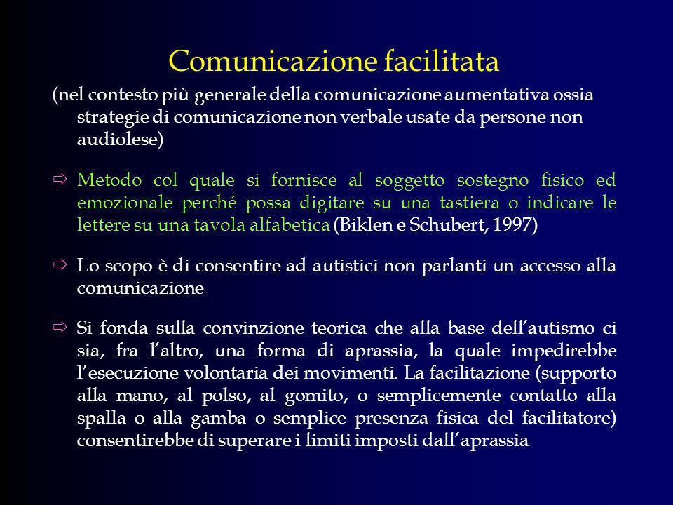 Comunicazione facilitata (nel contesto più generale della comunicazione aumentativa ossia strategie di comunicazione non verbale usate da persone non