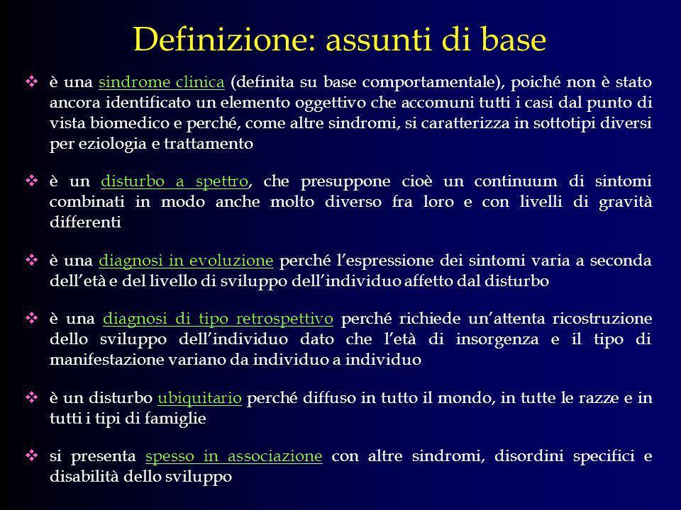 Definizione: assunti di base è una sindrome clinica (definita su base comportamentale), poiché non è stato ancora identificato un elemento oggettivo c
