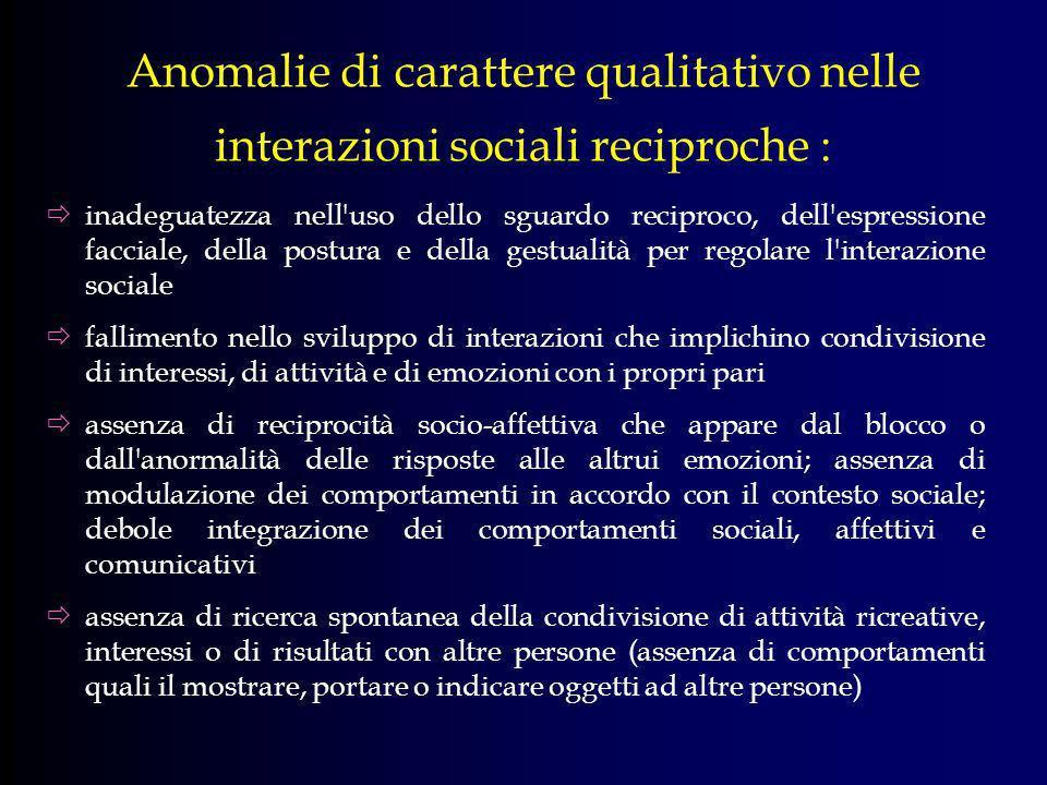 Anomalie di carattere qualitativo nelle interazioni sociali reciproche : inadeguatezza nell'uso dello sguardo reciproco, dell'espressione facciale, de