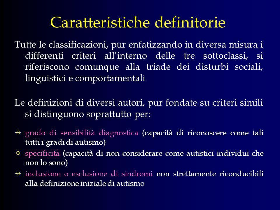 Epidemiologia 4-5 casi su 10.000, di cui 3/4 maschi (Bayley e Rutter, 1991) Tassi più elevati e minor concentrazione di differenze tra sessi (Gillberg, 1993) Soddivisione dello spettro in 4 categorie con diversi livelli di prevalenza: Autismo infantile (o disordine autistico): condizione clinica che presenta tutti i sintomi previsti come criteri diagnostici (da 7 a 17 bambini su 10.000 nascite, 12-20 nella popolazione in età scolare) Condizioni quasi autistiche: casi che, a parte alcuni tratti non caratteristici, mostrano quasi tutti i sintomi tipici dellautismo (2-4 su 10.000 nascite) Sindrome di Asperger: spesso identificata con un gruppo di soggetti autistici ad alto funzionamento (36-71 su 10.000 nascite) Presenza di tratti autistici: in bambini che non soddisfano completamente i criteri diagnostici per essere definiti autistici (circa 35 su 10.000 nascite)