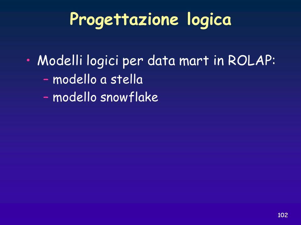 102 Progettazione logica Modelli logici per data mart in ROLAP: –modello a stella –modello snowflake