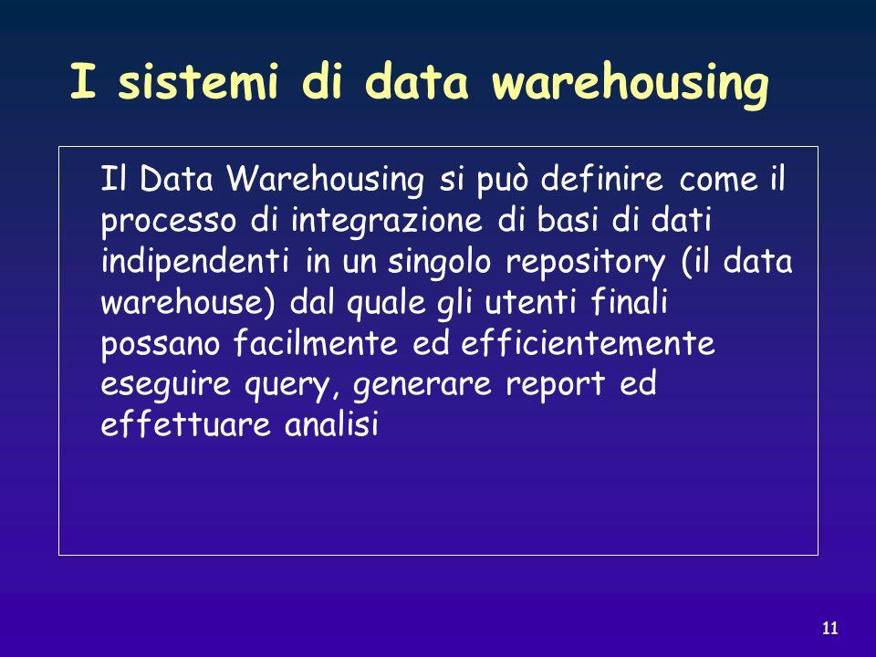 11 I sistemi di data warehousing Il Data Warehousing si può definire come il processo di integrazione di basi di dati indipendenti in un singolo repos