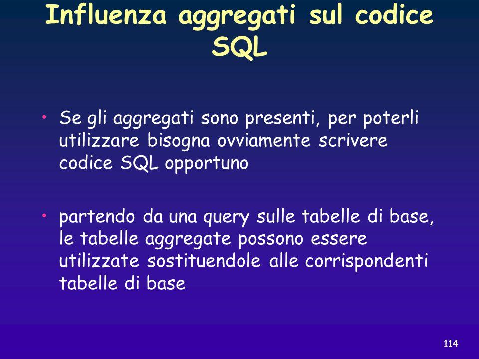 114 Influenza aggregati sul codice SQL Se gli aggregati sono presenti, per poterli utilizzare bisogna ovviamente scrivere codice SQL opportuno partend