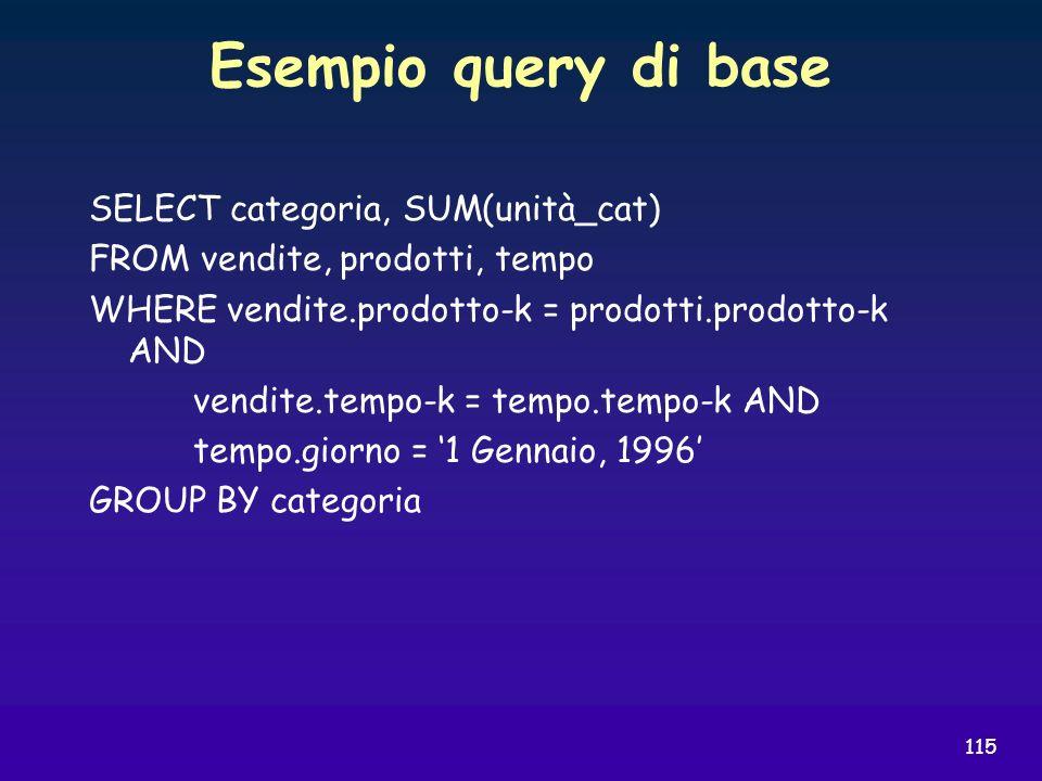 115 Esempio query di base SELECT categoria, SUM(unità_cat) FROM vendite, prodotti, tempo WHERE vendite.prodotto-k = prodotti.prodotto-k AND vendite.te