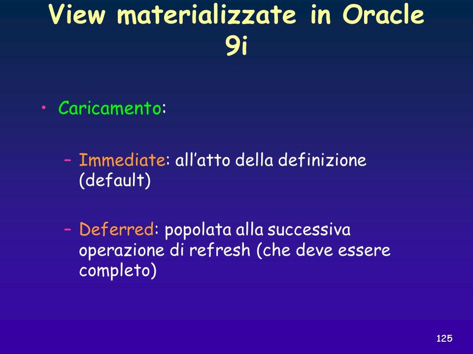 125 View materializzate in Oracle 9i Caricamento: –Immediate: allatto della definizione (default) –Deferred: popolata alla successiva operazione di re