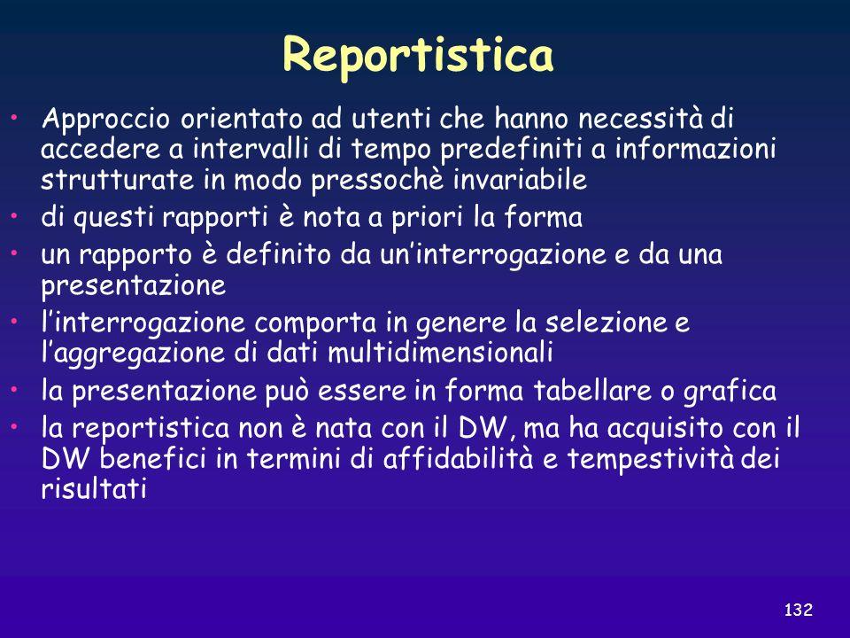 132 Reportistica Approccio orientato ad utenti che hanno necessità di accedere a intervalli di tempo predefiniti a informazioni strutturate in modo pr