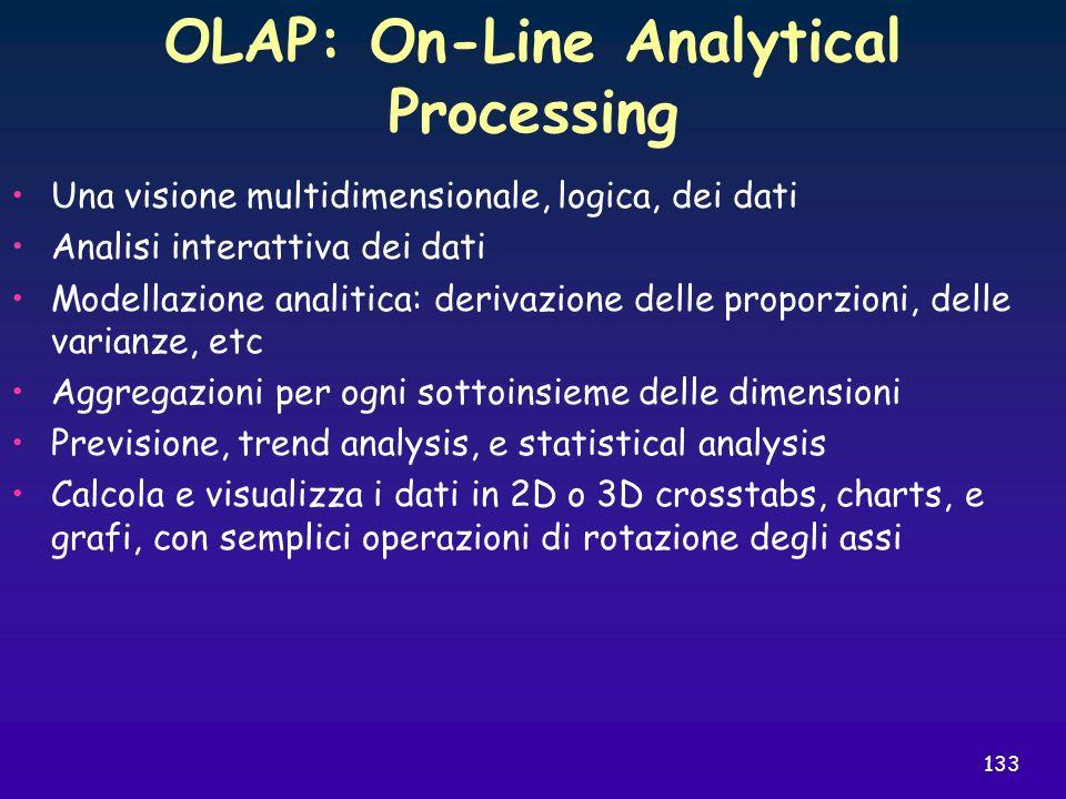 133 OLAP: On-Line Analytical Processing Una visione multidimensionale, logica, dei dati Analisi interattiva dei dati Modellazione analitica: derivazio