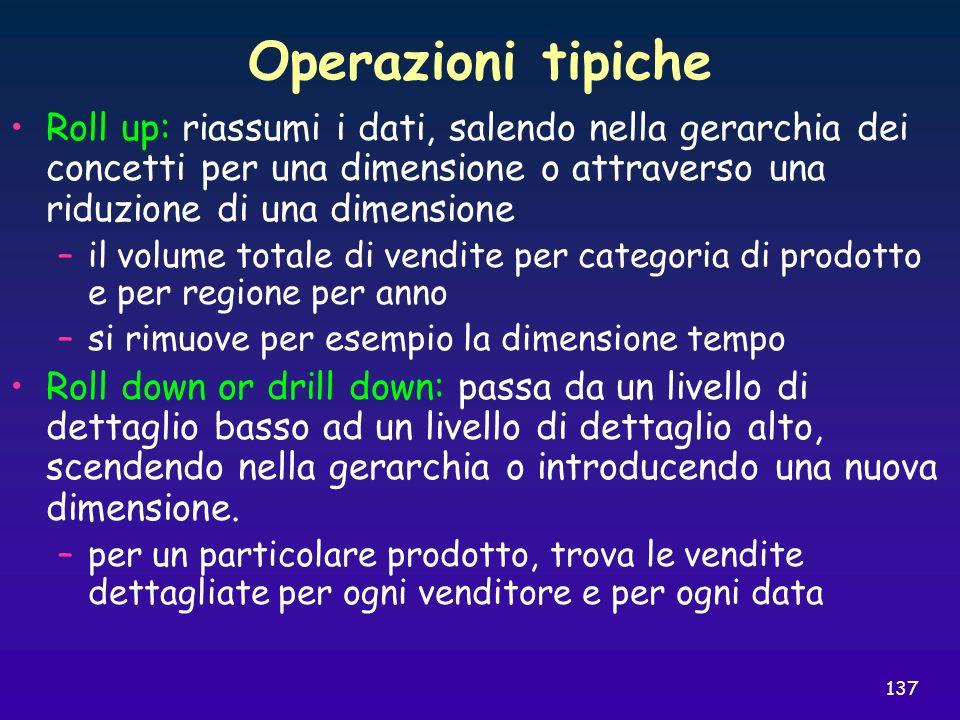 137 Operazioni tipiche Roll up: riassumi i dati, salendo nella gerarchia dei concetti per una dimensione o attraverso una riduzione di una dimensione