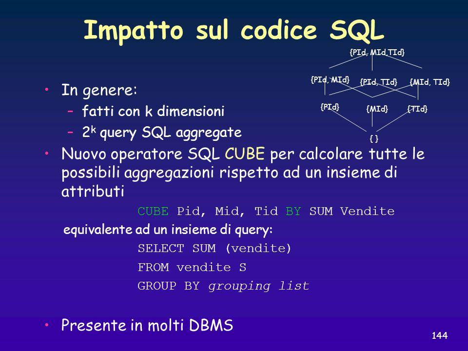 144 Impatto sul codice SQL In genere: –fatti con k dimensioni –2 k query SQL aggregate Nuovo operatore SQL CUBE per calcolare tutte le possibili aggre