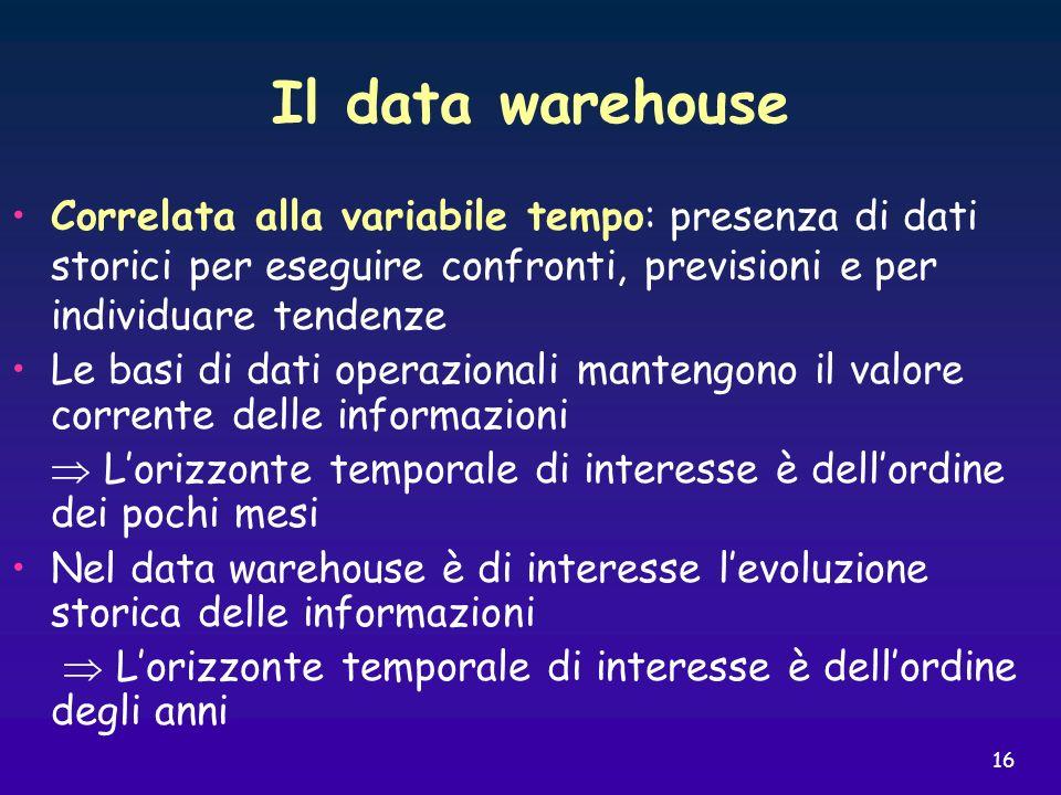 16 Il data warehouse Correlata alla variabile tempo: presenza di dati storici per eseguire confronti, previsioni e per individuare tendenze Le basi di