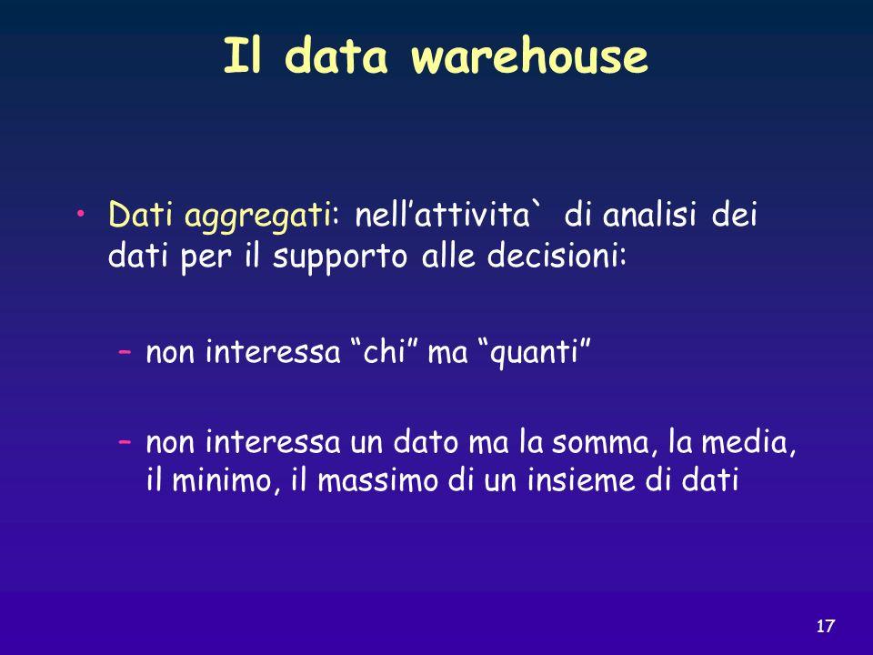 17 Il data warehouse Dati aggregati: nellattivita` di analisi dei dati per il supporto alle decisioni: –non interessa chi ma quanti –non interessa un