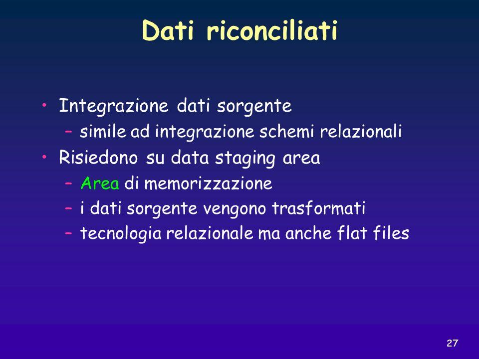 27 Dati riconciliati Integrazione dati sorgente –simile ad integrazione schemi relazionali Risiedono su data staging area –Area di memorizzazione –i d