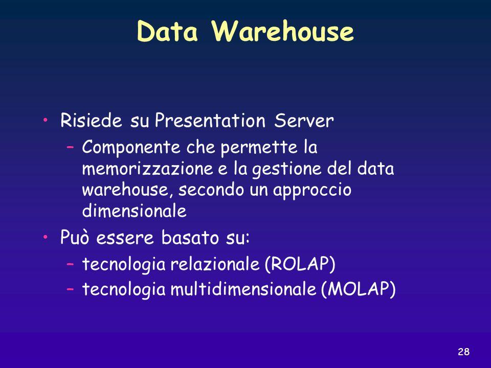 28 Data Warehouse Risiede su Presentation Server –Componente che permette la memorizzazione e la gestione del data warehouse, secondo un approccio dim