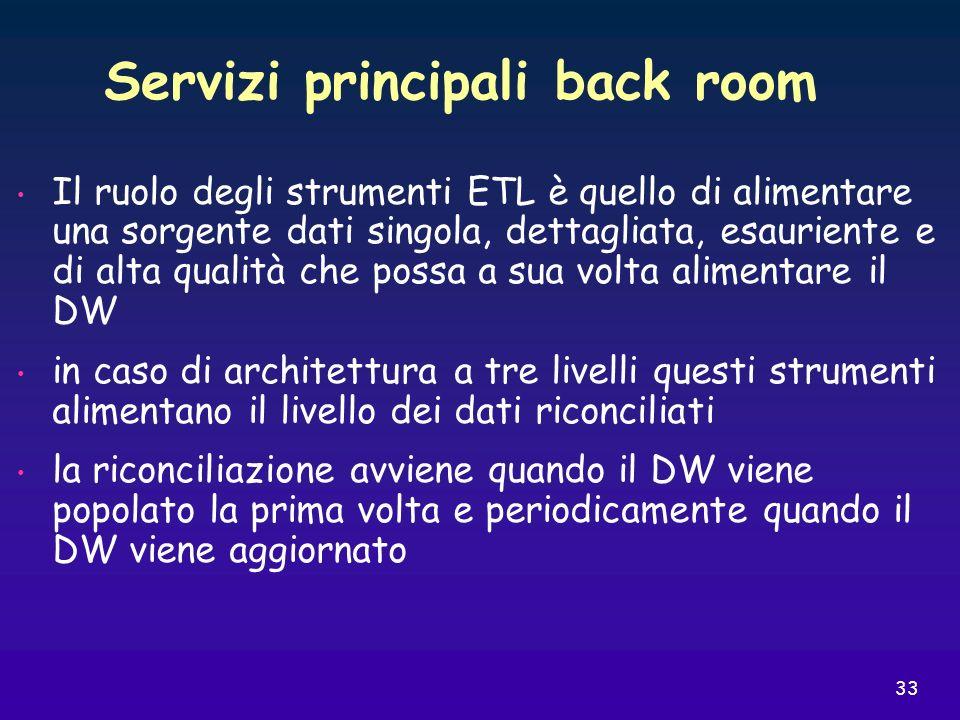 33 Servizi principali back room Il ruolo degli strumenti ETL è quello di alimentare una sorgente dati singola, dettagliata, esauriente e di alta quali