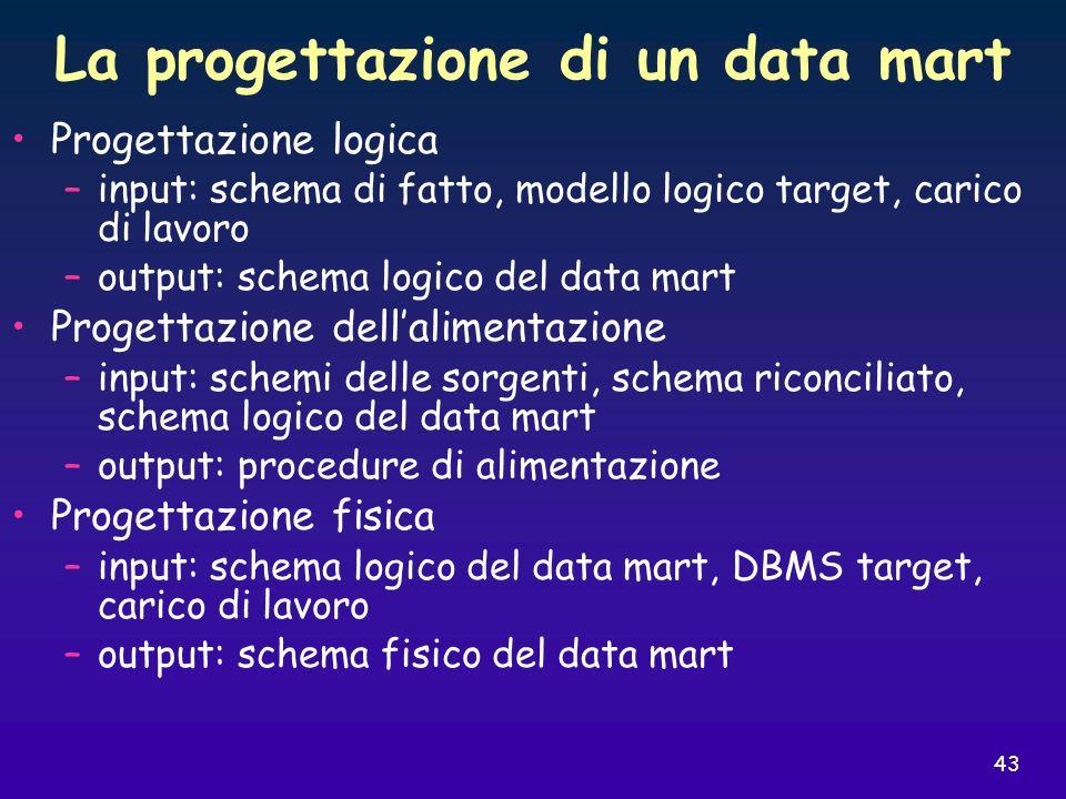 43 La progettazione di un data mart Progettazione logica –input: schema di fatto, modello logico target, carico di lavoro –output: schema logico del d