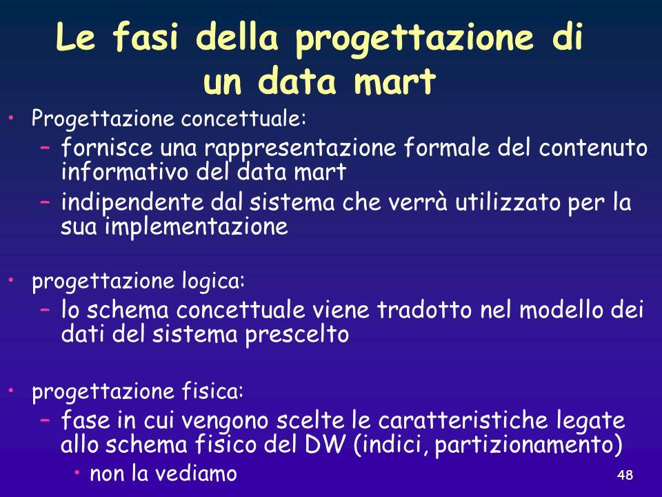 48 Le fasi della progettazione di un data mart Progettazione concettuale: –fornisce una rappresentazione formale del contenuto informativo del data ma