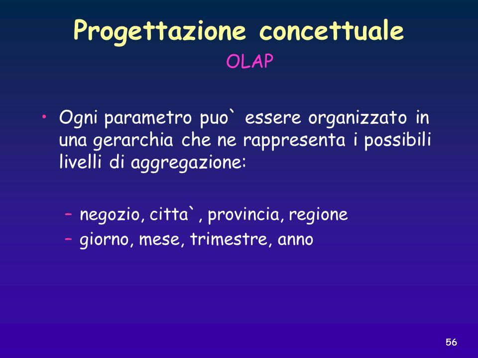 56 Progettazione concettuale Ogni parametro puo` essere organizzato in una gerarchia che ne rappresenta i possibili livelli di aggregazione: –negozio,