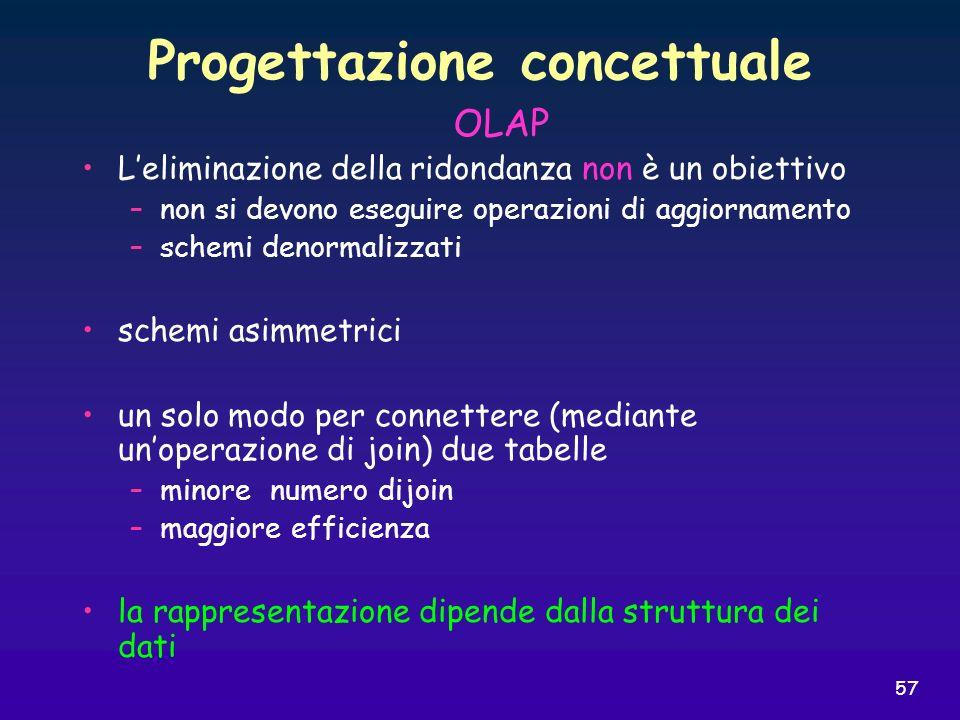 57 Progettazione concettuale Leliminazione della ridondanza non è un obiettivo –non si devono eseguire operazioni di aggiornamento –schemi denormalizz