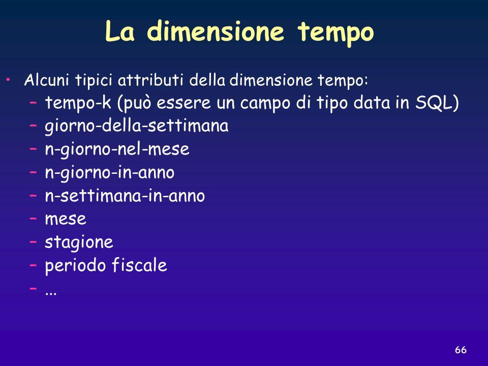 66 La dimensione tempo Alcuni tipici attributi della dimensione tempo: –tempo-k (può essere un campo di tipo data in SQL) –giorno-della-settimana –n-g