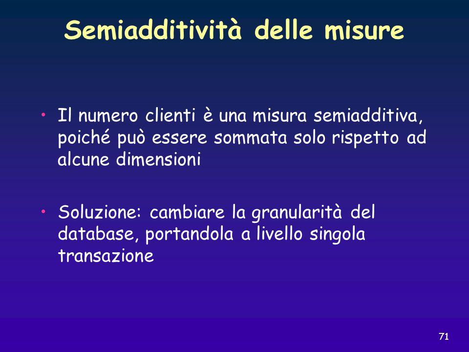 71 Semiadditività delle misure Il numero clienti è una misura semiadditiva, poiché può essere sommata solo rispetto ad alcune dimensioni Soluzione: ca