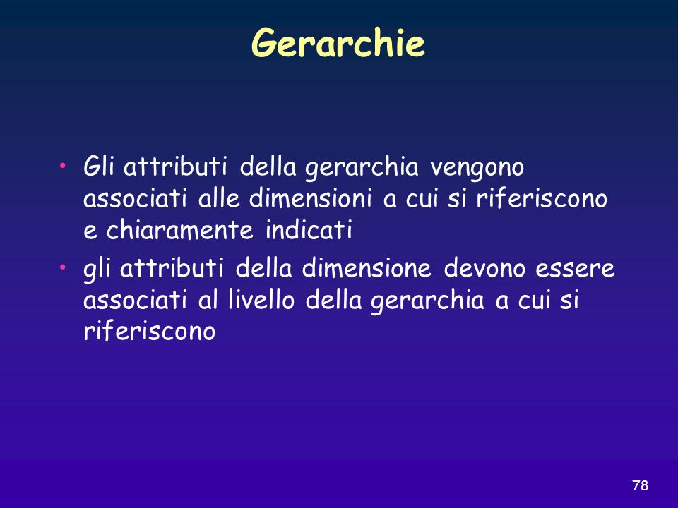 78 Gerarchie Gli attributi della gerarchia vengono associati alle dimensioni a cui si riferiscono e chiaramente indicati gli attributi della dimension