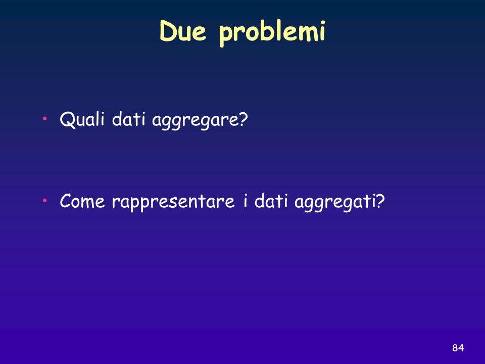 84 Due problemi Quali dati aggregare? Come rappresentare i dati aggregati?