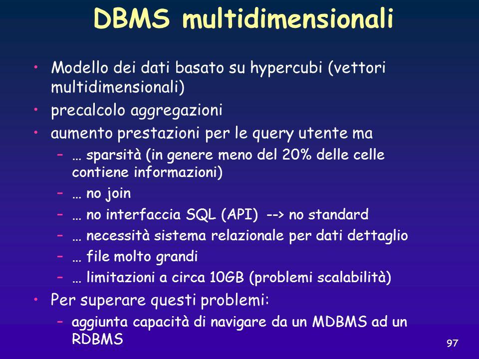 97 DBMS multidimensionali Modello dei dati basato su hypercubi (vettori multidimensionali) precalcolo aggregazioni aumento prestazioni per le query ut