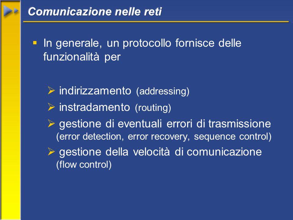In generale, un protocollo fornisce delle funzionalità per indirizzamento (addressing) instradamento (routing) gestione di eventuali errori di trasmissione (error detection, error recovery, sequence control) gestione della velocità di comunicazione (flow control)