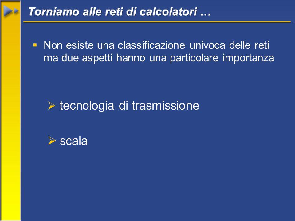 Non esiste una classificazione univoca delle reti ma due aspetti hanno una particolare importanza tecnologia di trasmissione scala