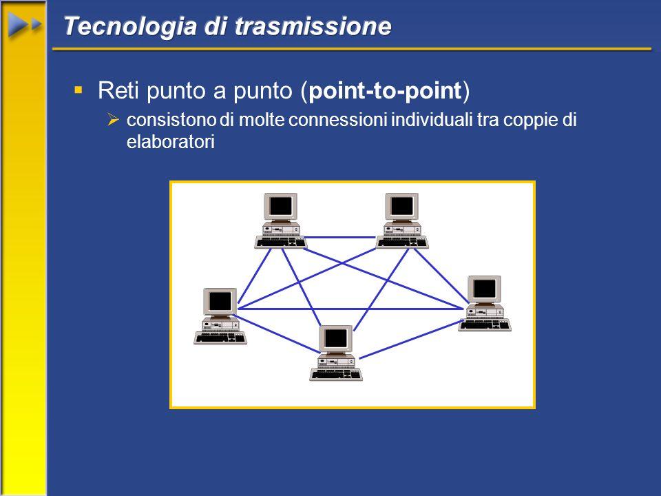 Reti punto a punto (point-to-point) consistono di molte connessioni individuali tra coppie di elaboratori