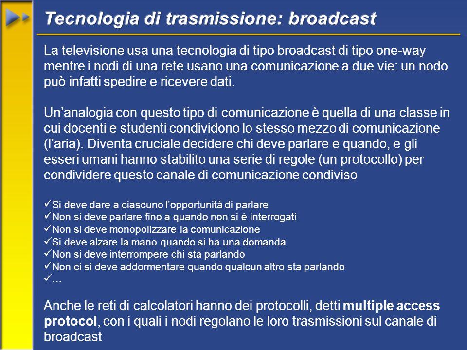 La televisione usa una tecnologia di tipo broadcast di tipo one-way mentre i nodi di una rete usano una comunicazione a due vie: un nodo può infatti spedire e ricevere dati.