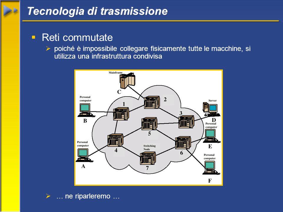 Reti commutate poiché è impossibile collegare fisicamente tutte le macchine, si utilizza una infrastruttura condivisa … ne riparleremo …