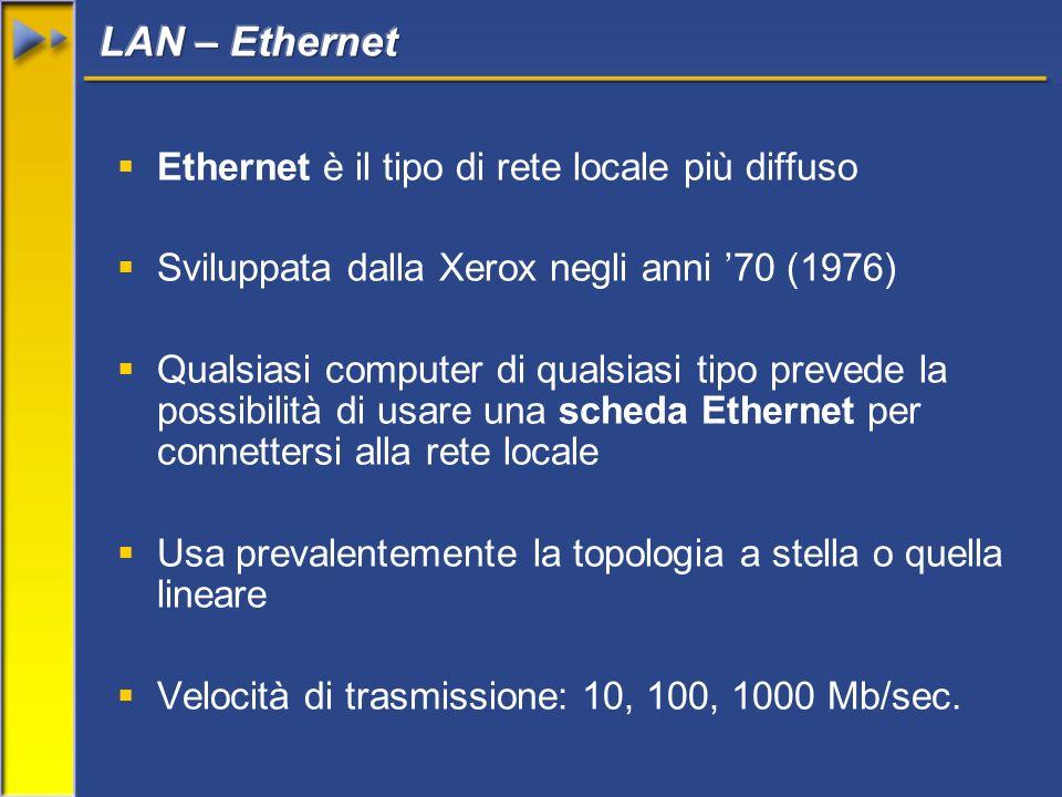 Ethernet è il tipo di rete locale più diffuso Sviluppata dalla Xerox negli anni 70 (1976) Qualsiasi computer di qualsiasi tipo prevede la possibilità di usare una scheda Ethernet per connettersi alla rete locale Usa prevalentemente la topologia a stella o quella lineare Velocità di trasmissione: 10, 100, 1000 Mb/sec.