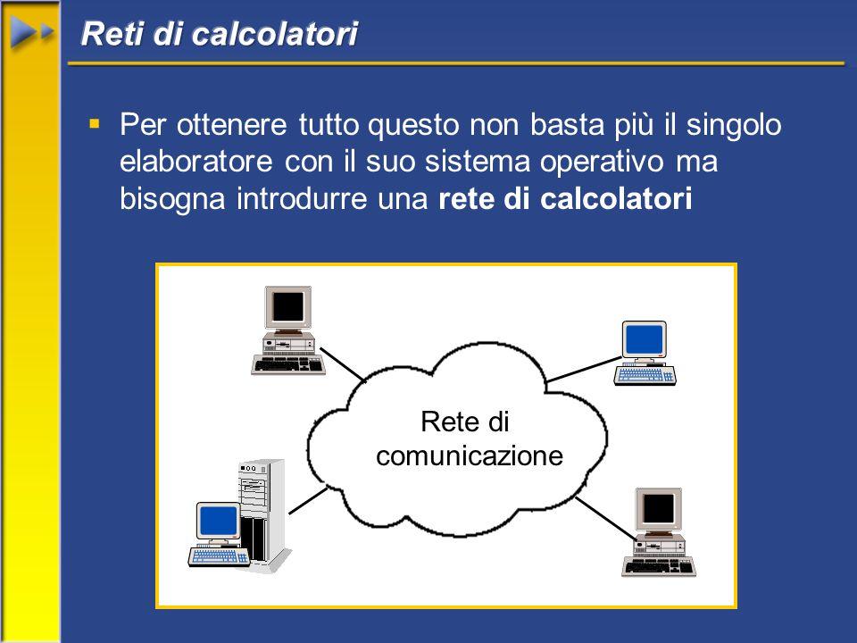 Per ottenere tutto questo non basta più il singolo elaboratore con il suo sistema operativo ma bisogna introdurre una rete di calcolatori Rete di comunicazione