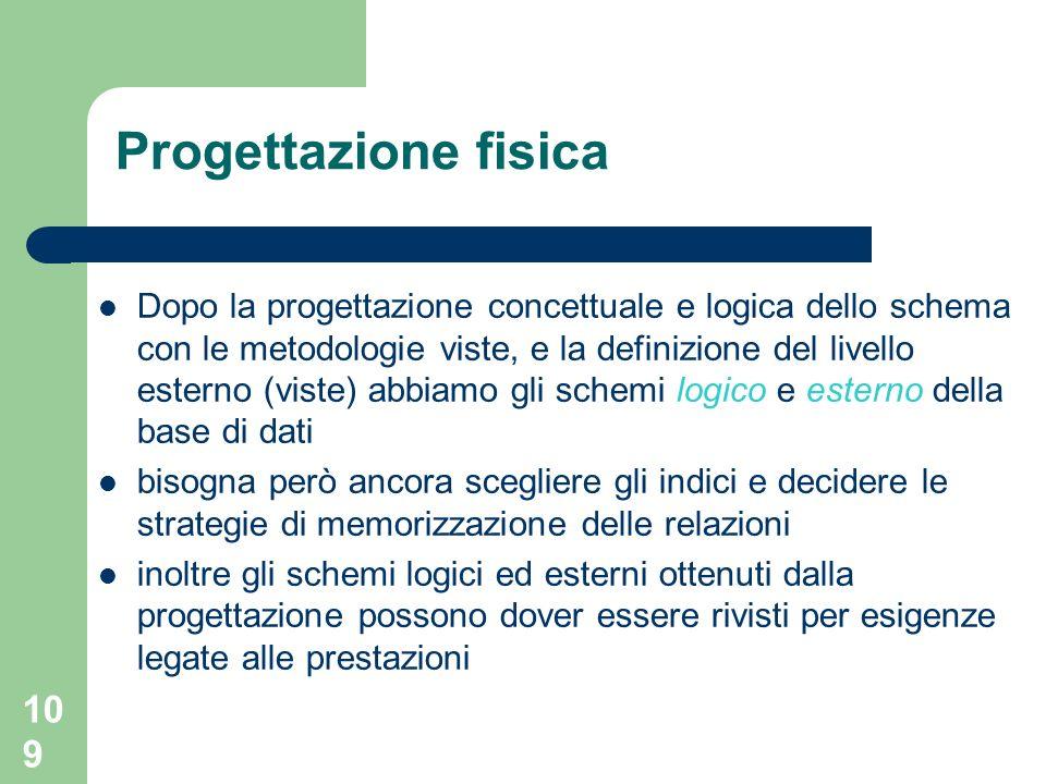 109 Dopo la progettazione concettuale e logica dello schema con le metodologie viste, e la definizione del livello esterno (viste) abbiamo gli schemi