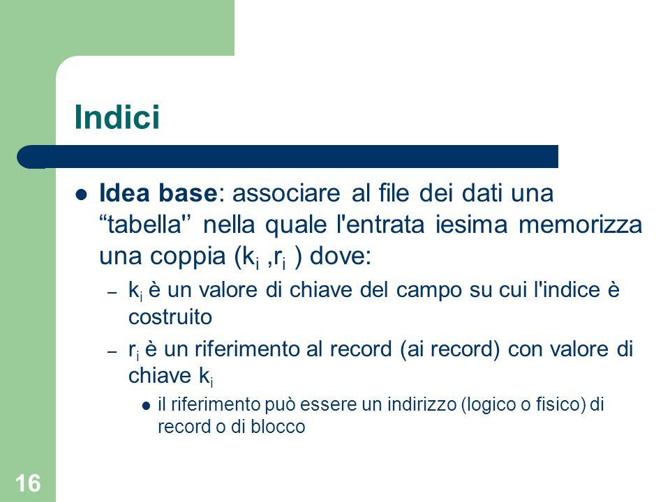16 Indici Idea base: associare al file dei dati una tabella' nella quale l'entrata iesima memorizza una coppia (k i,r i ) dove: – k i è un valore di