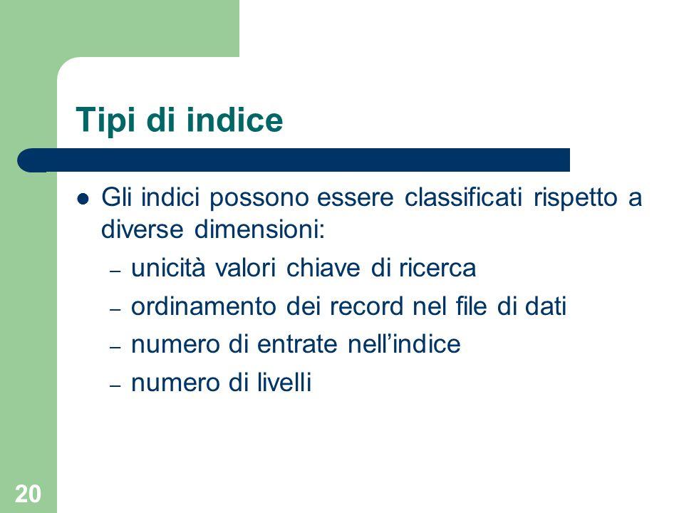 20 Tipi di indice Gli indici possono essere classificati rispetto a diverse dimensioni: – unicità valori chiave di ricerca – ordinamento dei record ne