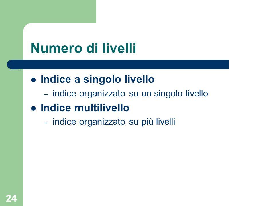 24 Numero di livelli Indice a singolo livello – indice organizzato su un singolo livello Indice multilivello – indice organizzato su più livelli