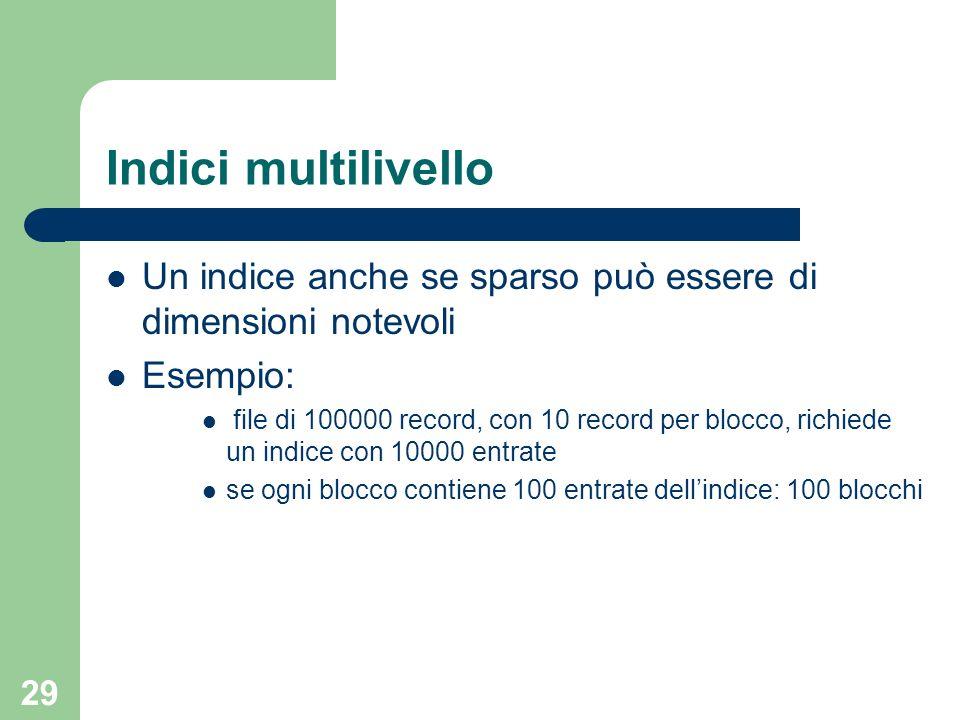 29 Indici multilivello Un indice anche se sparso può essere di dimensioni notevoli Esempio: file di 100000 record, con 10 record per blocco, richiede